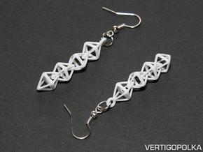 Octahedralink Earrings in White Natural Versatile Plastic