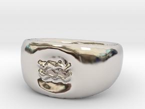 Aquarius Ring sz8 in Rhodium Plated Brass