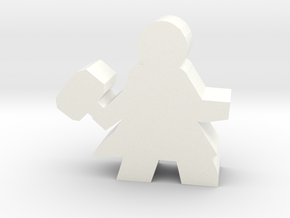 Warrior Hero Meeple, With Hammer in White Processed Versatile Plastic