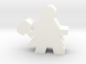 Warrior Hero Meeple, With Hammer in White Processed Versatile Plastic