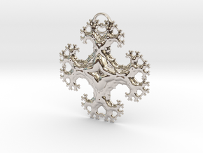 Fractal Trees Cross Pendant in Rhodium Plated Brass