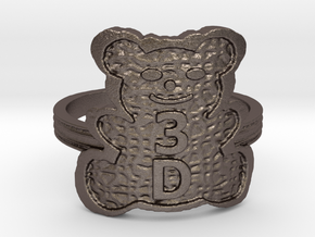 3D Magic Teddy Bear Ring in Polished Bronzed Silver Steel: 4 / 46.5