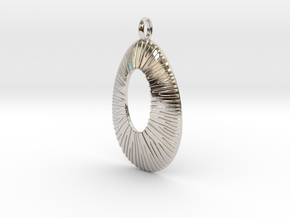Pendant Coral Structure #2 Version 6B in Rhodium Plated Brass