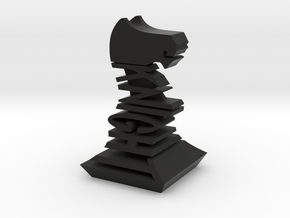 Modern Chess Set - KNIGHT in Black Natural Versatile Plastic