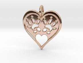 Rat Foot Print Heart Pendant in 14k Rose Gold