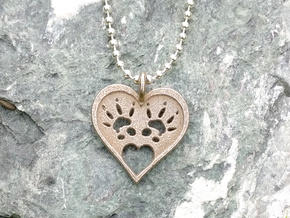 Rat Foot Print Heart Pendant in Stainless Steel