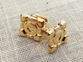 Portal Companion Cube Cufflinks in 14k Gold Plated Brass