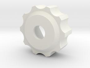 M8 - Knob Low in White Natural Versatile Plastic