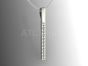 Pendant Bar with Geometric Pyramids in Fine Detail Polished Silver