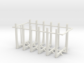 1/50th set of six straight truck log bunks in White Natural Versatile Plastic