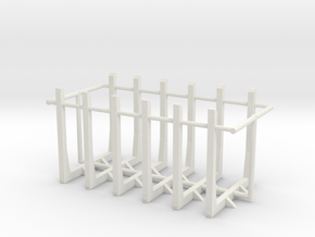 1/64th set of six log truck or trailer bunks in White Natural Versatile Plastic
