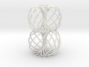 Double Spiral Torus 7/12, golden ratio in White Natural Versatile Plastic