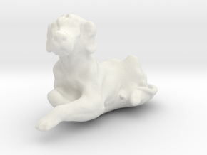 1/24 Relaxing Dog for Diorama in White Natural Versatile Plastic
