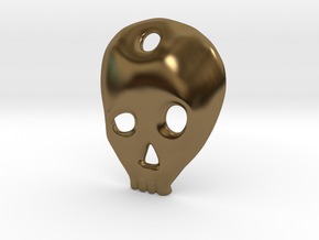 SKULL charm or pendant in Polished Bronze