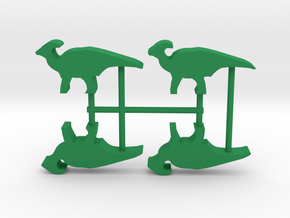 Dino Meeple, Parasaurolophus 4-set in Green Strong & Flexible Polished