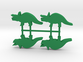 Dino Meeples, Triceratops 4-set in Green Processed Versatile Plastic