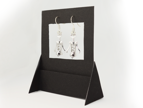 Corkscrew Earrings in Rhodium Plated Brass