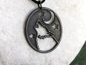 Wolf and moon pendant (steels) in Polished and Bronzed Black Steel