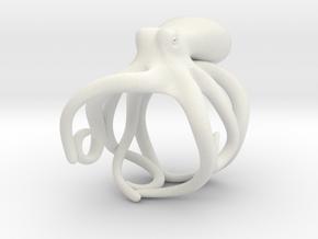 Octopus Ring 16mm in White Natural Versatile Plastic