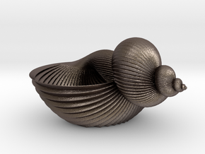 Shell Flower Pot in Polished Bronzed Silver Steel