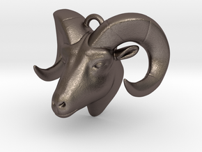RAM head pendant (hollow) in Polished Bronzed Silver Steel