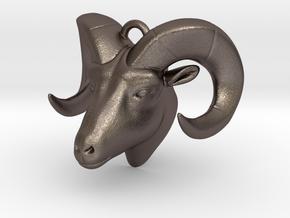 RAM head pendant (hollow) in Polished Bronzed Silver Steel
