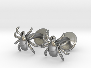 Tick Cufflinks - Nature Jewelry in Raw Silver