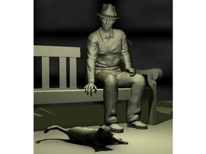SE Fred sitting on bench with hat in Smooth Fine Detail Plastic