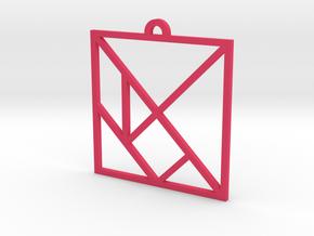 Tangram Outline Ornament in Pink Processed Versatile Plastic