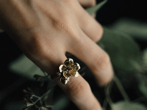Petite Cherry Ring in Natural Brass: 6 / 51.5