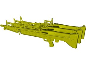 1/10 scale Saco Defense M-60 machineguns x 3 in Smooth Fine Detail Plastic