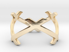 CrssWave Thin Ring in 14k Gold Plated Brass: 4 / 46.5