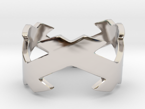 CrssWave Thick Ring in Rhodium Plated Brass: 4 / 46.5