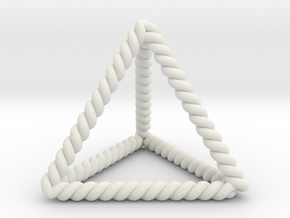 """Twisted Tetrahedron 1.4+"""" LH in White Natural Versatile Plastic"""
