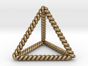 Twisted Tetrahedron LH in Polished Gold Steel