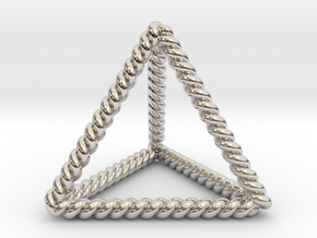 Twisted Tetrahedron LH in Rhodium Plated Brass