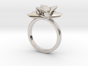 Gift Bow Ring in Rhodium Plated Brass: 6 / 51.5