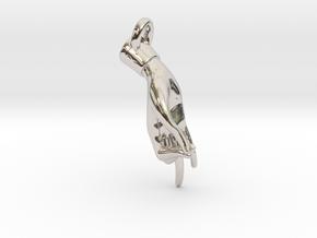 Hamsasyam Mudra Pendant/ Charm (Closed ) 2.5cm in Platinum
