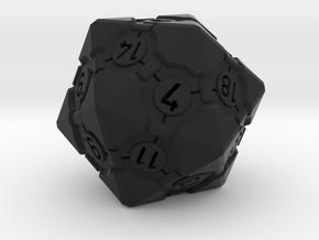 Companion Cube D20 - Portal Dice in Black Natural Versatile Plastic: Small
