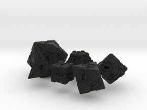 Companion Cube Polyhedral 6 Dice Set in Black Natural Versatile Plastic: Small