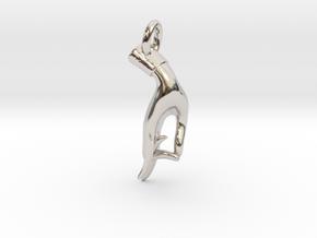 Karana Mudra V1 Pendant/ Charm 2.5cm in Rhodium Plated Brass