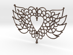 Flying Valentine Doily  in Polished Bronze Steel