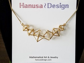 Interlocking Octahedron Necklace in Natural Brass (Interlocking Parts)