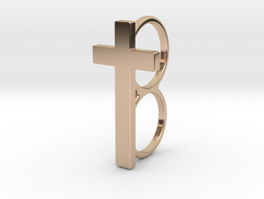 Double Cross Ring in 14k Rose Gold Plated Brass