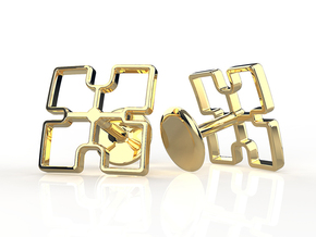 Nsaa Adinkra Cufflinks in 14K Yellow Gold