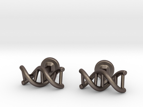 DNA helix cufflinks in Polished Bronzed Silver Steel