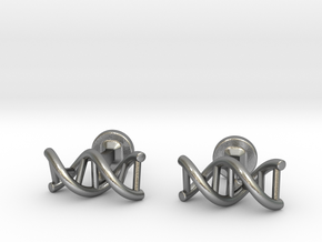 DNA helix cufflinks in Natural Silver