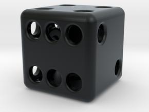 Balanced Hollow Dice (D6) (1.5cm) (Method 1) in Black Hi-Def Acrylate
