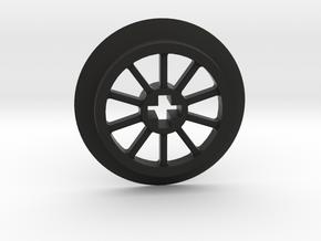 Medium Small Thin Train Wheel in Black Premium Versatile Plastic