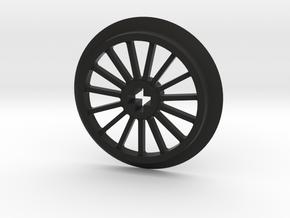 Medlium-Large Thin Train Wheel in Black Premium Versatile Plastic